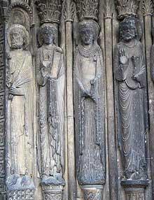 Le Mans, cathédrale saint Julien. Le portail sud, piédroit