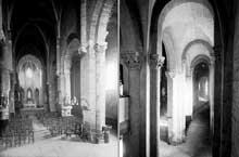 Le Monastier sur Gazeille (Haute Loire): abbatiale saint Chaffre. Nef et bas coté.
