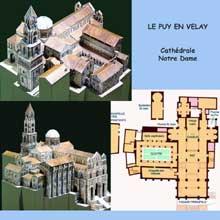 Le Puy en Velay. La cathédrale Notre Dame. Maquettes et plan