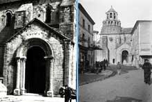 Le Thor (Vaucluse): l'église Notre Dame du Lac. Coté nord et portail