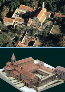 Le Thoronet (Var): l'abbaye cistercienne. Vue d'ensemble et maquette