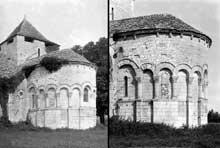 Lichères (Charente): l'église saint Denis. Le chevet