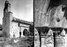 Llo (Pyrénées Atlantiques): église saint Fructueux. Côté sud et détail de l'ébrasement des piédroits du portail sud