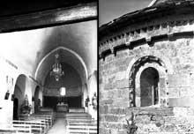 Llo (Pyrénées Atlantiques): église saint Fructueux. Le chœur et détail du chevet.