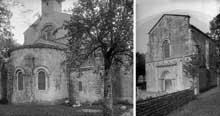 Marnans (Isère): église saint Pierre. Chevet et façade occidentale