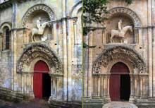 Melle (Deux Sèvres): l'église saint Hilaire. Le portail nord