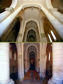 Melle (Deux Sèvres): l'église saint Hilaire. La nef en berceau brisé avec bas-côtés aussi hauts que le vaisseau central
