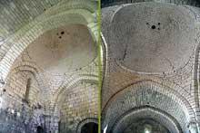 Merlande (Dordogne): le prieuré saint Jean. Coupole sur pendentifs couvrant la deuxième travée de la nef