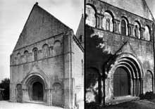Meuvaines (Calvados): église saint Manvieu. La façade occidentale avec au registre supérieur les statues de saint Pierre et d'un Evêque
