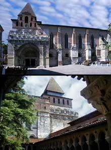 Moissac (Tarn et Garonne): l'abbaye saint Pierre. Vue de l'abbatial du côté sud et du coté nord (cloître)