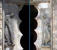 Moissac, abbaye saint Pierre: le portail du porche sud. Les piédroits: à gauche, saint Pierre; à droite, saint Paul