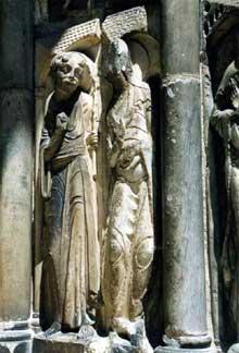 Moissac, abbaye saint Pierre: ébrasement est du portail sud; le cycle la Vierge Marie: l'annonciation
