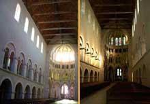 Montier en Der (Haute Marne): abbatiale saints Pierre et Paul. Elévation de la nef vers le chœur