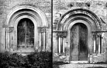 Montsaunès (Haute Garonne): église saint Christophe des Templiers. Le portail nord (à gauche) et le portail sud (à droite)