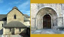 Oloron Sainte Marie (Basses Pyrénées): église Sainte Croix. Le chevet et le portail
