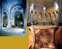 Oloron Sainte Marie (Basses Pyrénées): église Sainte Croix. Nef, chœur et coupole de croisée