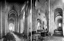 Plaimpied (Cher): abbatiale saint Martin. Nef (à gauche), collatéral et chœur (à droite)