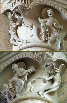 Plaimpied (Cher): abbatiale saint Martin. Chapiteau de la nef: la tentation du Christ