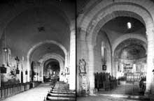 Plassac (Charente): église saint Cybard. La nef et le chœur