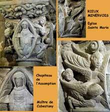 Rieux Minervois (Aude): église sainte Marie. Le chapiteau de l'assomption, sans doute de la main du «Maître de Cabestany»