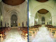 Saintes (Charente Maritime): abbatiale Sainte-Marie des Dames. La nef sous coupoles