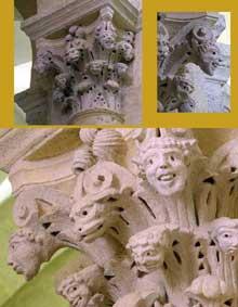 Saulieu (Cote d'Or), saint Andoche: chapiteau de la nef: feuilles d'acanthes à figures grotesques