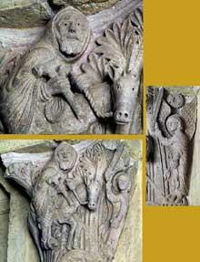Saulieu (Cote d'Or), saint Andoche: chapiteau historié de la nef: l'ânesse de Balaam. Ensemble et détail