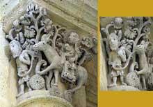 Saulieu (Cote d'Or), saint Andoche: chapiteau historié de la nef: la fuite en Egypte. Ensemble et détail