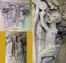 Saulieu (Cote d'Or), saint Andoche: chapiteau historié de la nef: la pendaison de Judas. Ensemble et détail