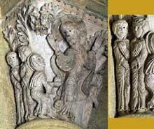 Saulieu (Cote d'Or), saint Andoche: chapiteau historié de la nef: la résurrection du Christ