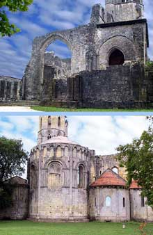 La Sauve Majeure (Gironde): abbaye Notre Dame de la Grande Sauve. Façade occidentale et chevet