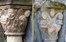 Boule d'Amont (Pyrénées Orientales): le prieuré Sainte Marie de Serrabone: chapiteaux du portail du flanc nord