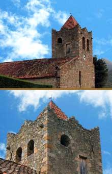 Serralongue (Pyrénées Orientales): l'église sainte Marie: le clocher