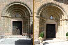 Serralongue (Pyrénées Orientales): l'église sainte Marie: le portail latéral