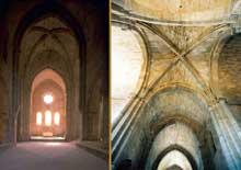 La Roque d'Anthéron (Bouches du Rhône): abbaye de Silvacane, l'église abbatiale: la nef et la croisée