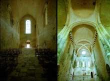 Saint Amand de Coly (Dordogne): église abbatiale. La nef: vue vers l'ouest depuis la croisée (à gauche) et vue vers le chœur depuis la croisée (à droite)