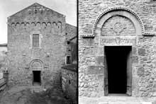 Saint André de Sorède (Pyrénées Orientales): façade occidentale et portail de l'église