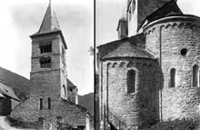 Saint Aventin (Haute Garonne): façade occidentale et chevet de l'église
