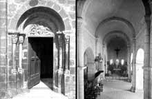Saint Béat (Haute Garonne): église saint Cyriaque. Portail sud et nef