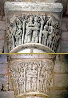 Saint Benoît sur Loire (Loiret): abbaye saint Fleury. Chapiteaux du porche: la Visitatio