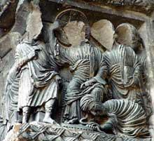 Saint Gilles du Gard, ébrasement nord du portail sud: «Noli me tangere»