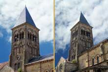 Saint Menoux (Allier): l'abbatiale. Tour de croisée