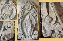 Saint Menoux (Allier): l'abbatiale. Fragments d'un tympan déposé dans le narthex