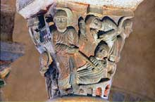 Saint Nectaire (Puy du Dôme): chapiteau du miracle de saint Nectaire.