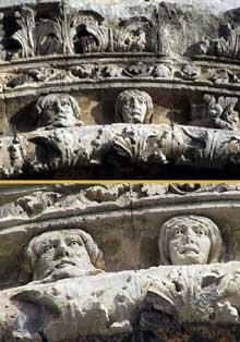 Saint Paul Trois Châteaux (Drôme): ancienne cathédrale: détails des voussures du portail de la façade occidentale