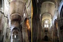 Saint Paul Trois Châteaux (Drôme): ancienne cathédrale: la nef: vue vers le chœur et vue vers l'ouest