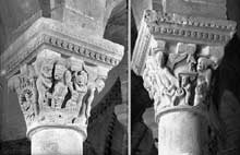 Saint Révérien (Nièvre): l'église prieurale: le chapiteau du Jugement Dernier: les enfers et la pesée des âmes