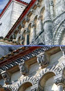 Talmont (Charente Maritime): l'église sainte Radegonde. Décor de la corniche du chevet