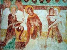 Tavant (Indre et Loire): Eglise Saint-Nicolas. Fresque du chœur: l'annonciation et la visitation.
