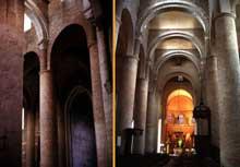 Tournus (Saône et Loire): abbatiale saint Philibert. Nef à arcs diaphragmes et berceaux transversaux